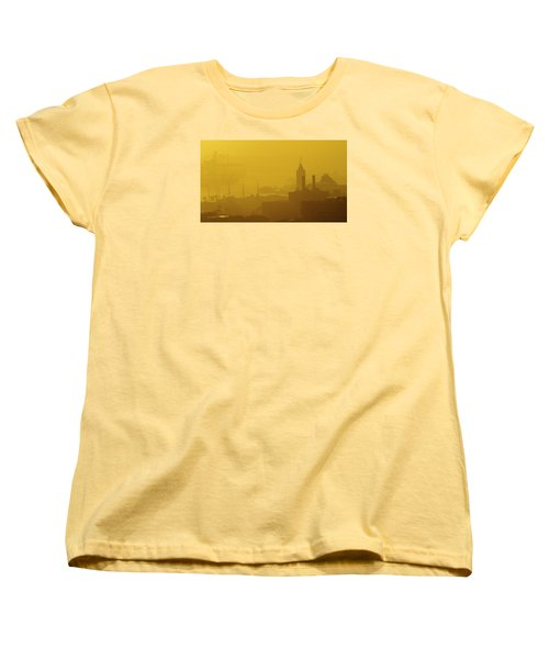A Foggy Golden Sunset In Honolulu Harbor Women's T-Shirt (Standard Cut) by Lehua Pekelo-Stearns