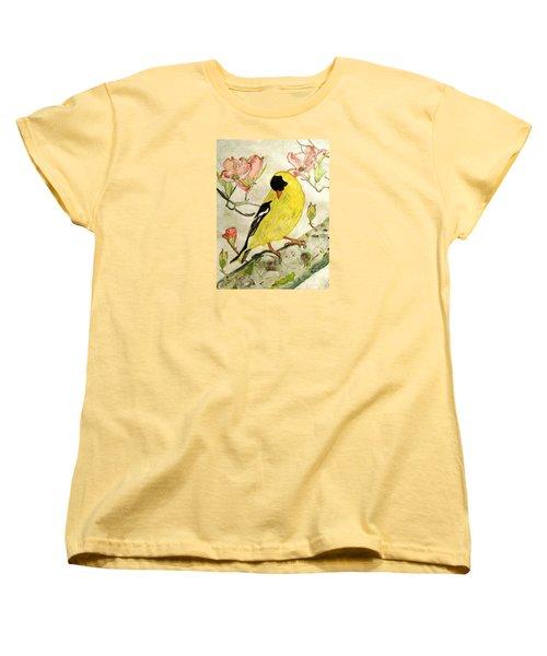 A Goldfinch Spring Women's T-Shirt (Standard Cut) by Angela Davies