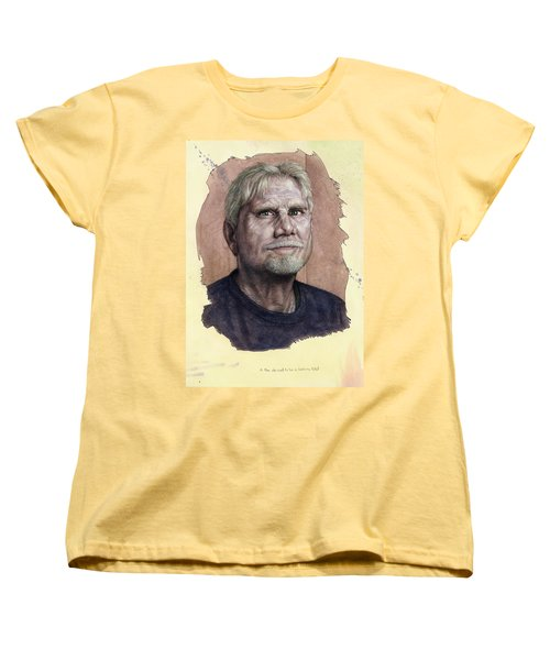 Women's T-Shirt (Standard Cut) featuring the painting A Man Who Used To Be A Serious Artist by James W Johnson