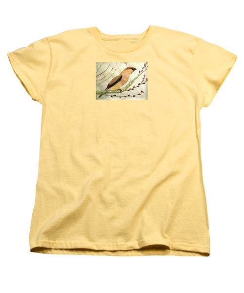 A Waxwing In The Orchard Women's T-Shirt (Standard Cut) by Angela Davies