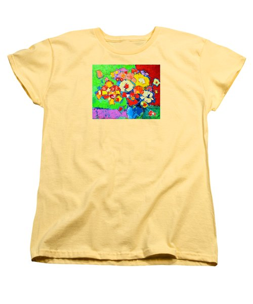 Abstract Colorful Flowers Women's T-Shirt (Standard Cut) by Ana Maria Edulescu