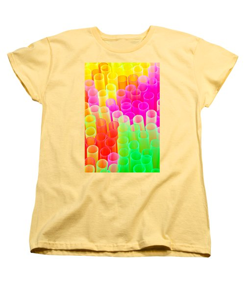 Abstract Drinking Straws #2 Women's T-Shirt (Standard Cut) by Meirion Matthias