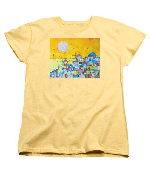 Abstract Santorini - Oia Before Sunset Women's T-Shirt (Standard Cut) by Ana Maria Edulescu