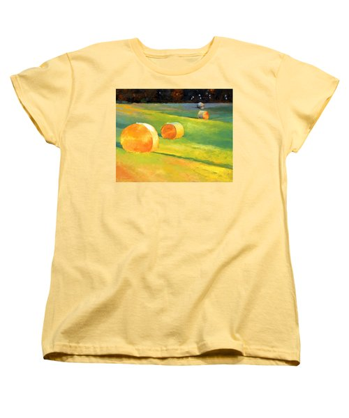 Advance Mills Hall Bales Women's T-Shirt (Standard Cut) by Catherine Twomey