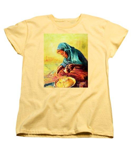 African Chai Tea Lady. Women's T-Shirt (Standard Cut) by Sher Nasser