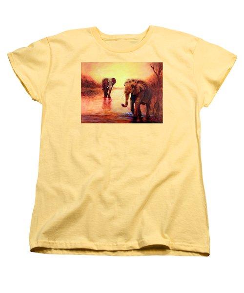 African Elephants At Sunset In The Serengeti Women's T-Shirt (Standard Cut) by Sher Nasser