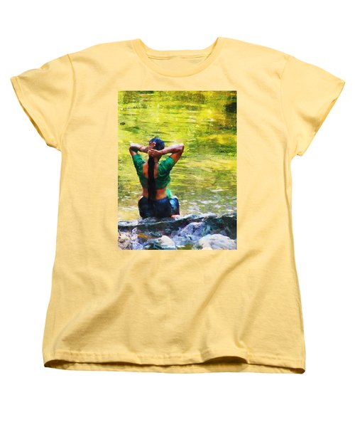 After The River Bathing. Indian Woman. Impressionism Women's T-Shirt (Standard Cut) by Jenny Rainbow