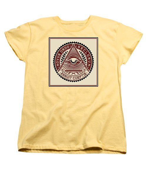 Women's T-Shirt (Standard Cut) featuring the digital art All Seeing Eye by Vagabond Folk Art - Virginia Vivier