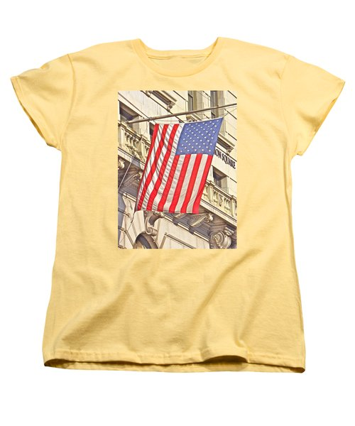 Women's T-Shirt (Standard Cut) featuring the photograph American Flag N.y.c 1 by Joan Reese