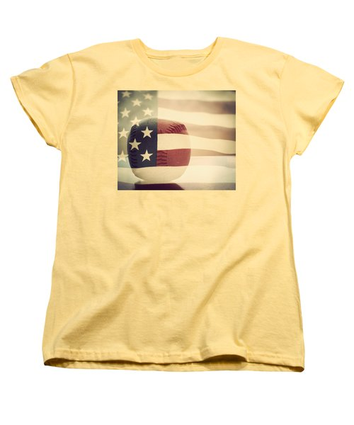 Americana Baseball  Women's T-Shirt (Standard Cut) by Terry DeLuco