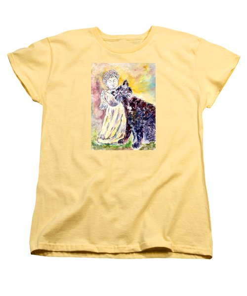 Women's T-Shirt (Standard Cut) featuring the painting Angel Or Demon by Alfred Motzer