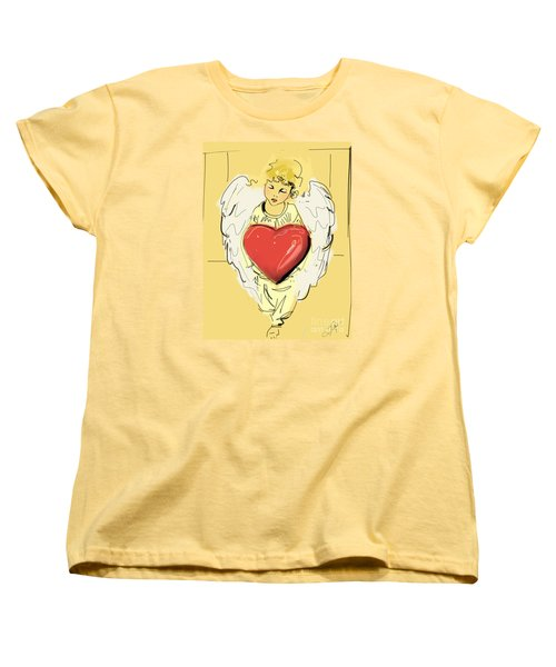 Women's T-Shirt (Standard Cut) featuring the painting Angel Red Heart by Go Van Kampen