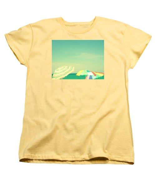 Women's T-Shirt (Standard Cut) featuring the digital art Aqua Sky With Umbrellas by Valerie Reeves