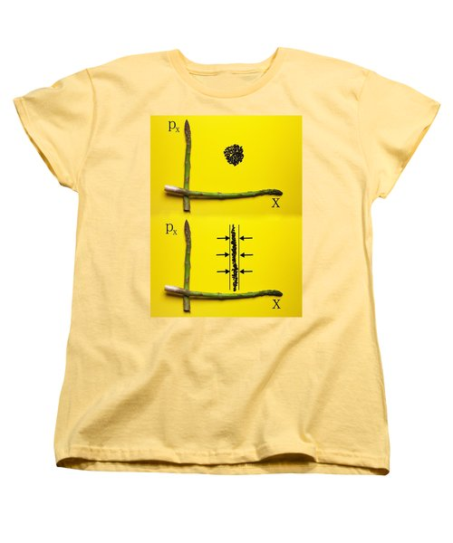 Women's T-Shirt (Standard Cut) featuring the photograph Asparagus And Black Rice Depicting Heisenberg Uncertainty Food Physics by Paul Ge