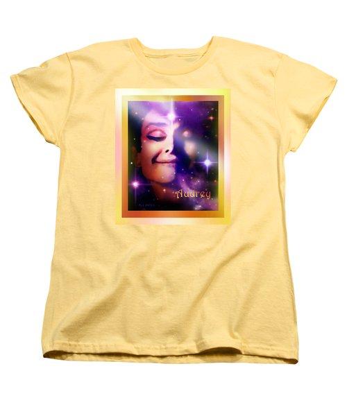 Women's T-Shirt (Standard Cut) featuring the painting Audrey - Audrey Hepburn by Hartmut Jager