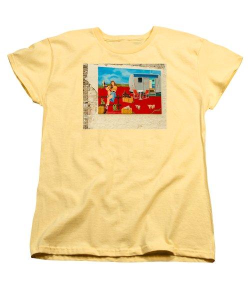 Austin - Camping Mural Women's T-Shirt (Standard Cut) by Allen Sheffield