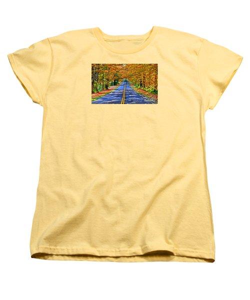 Autumn Road Oneida County Ny Women's T-Shirt (Standard Cut) by Diane E Berry