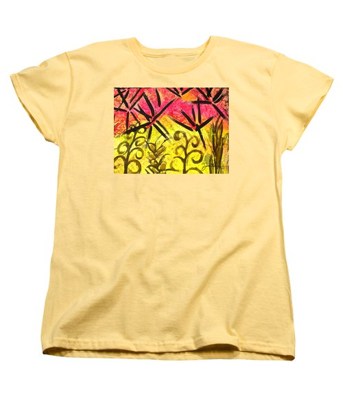 Women's T-Shirt (Standard Cut) featuring the painting Bamboo In The Wind by Joan Reese