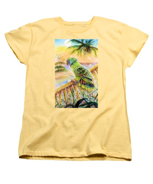 Banana Tree And Tropical Bird Women's T-Shirt (Standard Cut) by Bernadette Krupa