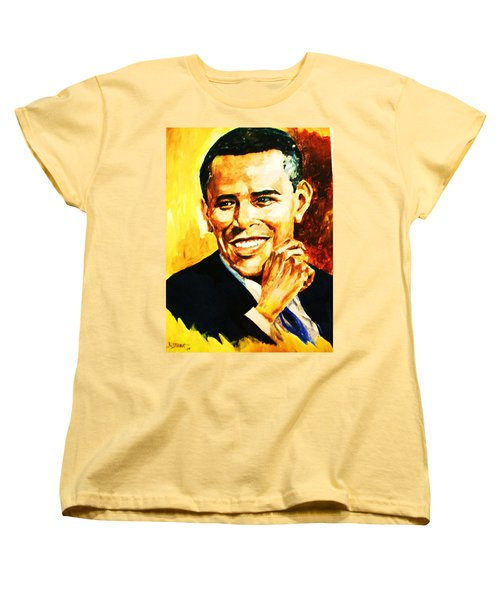 Women's T-Shirt (Standard Cut) featuring the painting Barack Obama by Al Brown