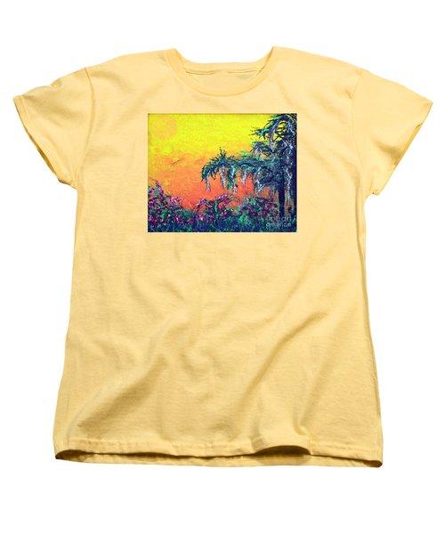 Women's T-Shirt (Standard Cut) featuring the painting Bayou Honeymoon by Alys Caviness-Gober