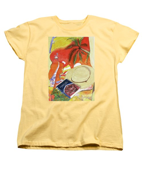 Women's T-Shirt (Standard Cut) featuring the painting Beach Day by Carol Flagg