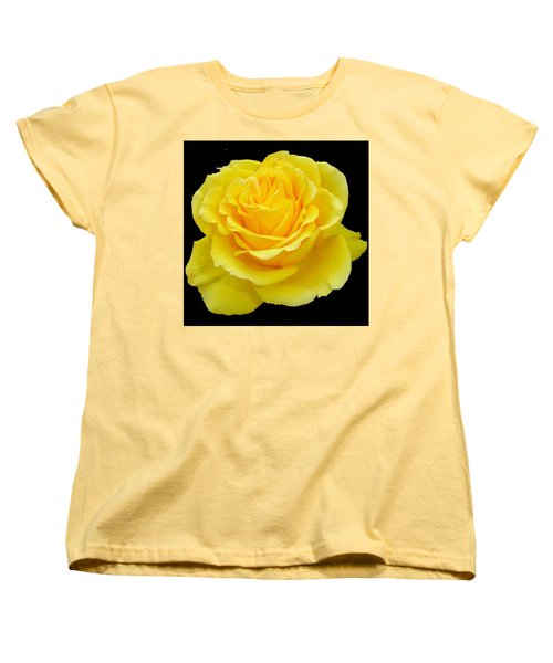 Beautiful Yellow Rose Flower On Black Background  Women's T-Shirt (Standard Cut) by Tracey Harrington-Simpson