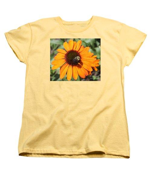Women's T-Shirt (Standard Cut) featuring the photograph Bee On Flower by John Telfer