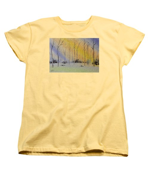 Birch In Blue Women's T-Shirt (Standard Cut) by Richard Faulkner