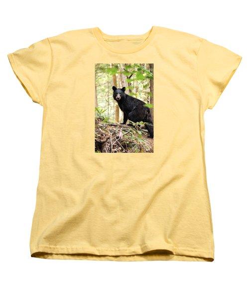 Black Bear Smile Women's T-Shirt (Standard Cut) by Debbie Green