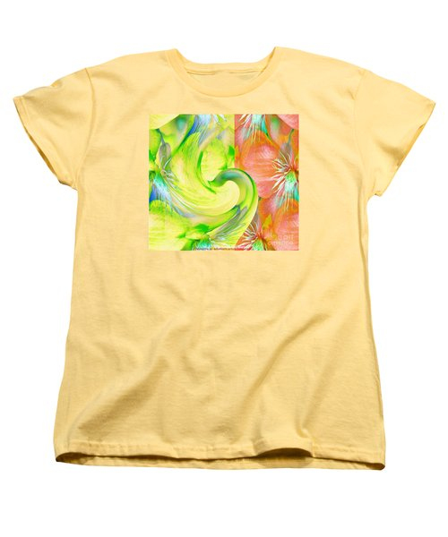 Women's T-Shirt (Standard Cut) featuring the mixed media Bloom Dance  by Maestro