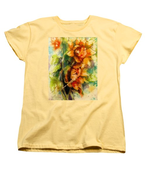 Women's T-Shirt (Standard Cut) featuring the painting Blooming Flowers - Batik by Bernadette Krupa