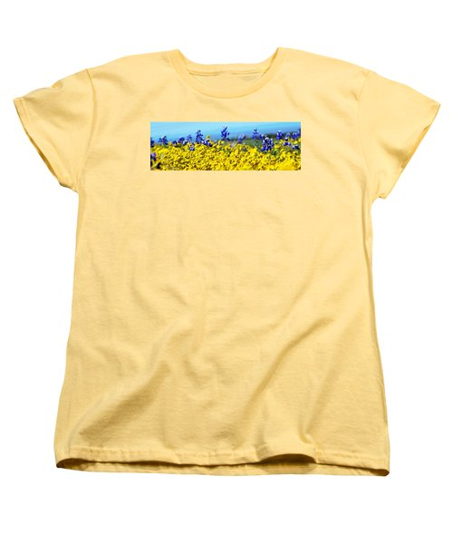 Blue And Yellow Wildflowers Women's T-Shirt (Standard Cut) by Holly Blunkall