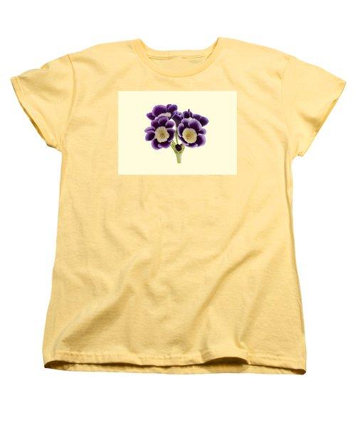 Women's T-Shirt (Standard Cut) featuring the photograph Blue Auricula On A Cream Background by Paul Gulliver