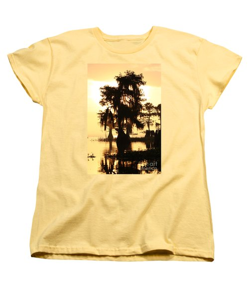 Blue Cypress Yellow Light Women's T-Shirt (Standard Cut) by Paul Rebmann