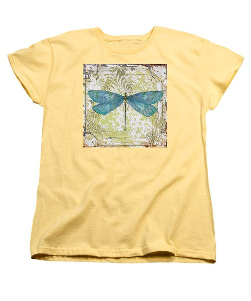 Blue Dragonfly On Vintage Tin Women's T-Shirt (Standard Cut) by Jean Plout