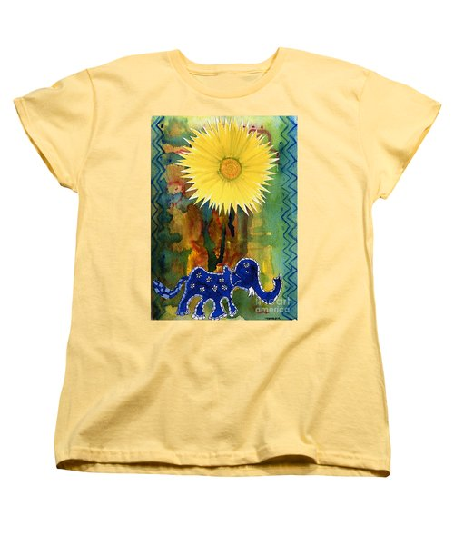 Blue Elephant In The Rainforest Women's T-Shirt (Standard Cut) by Mukta Gupta