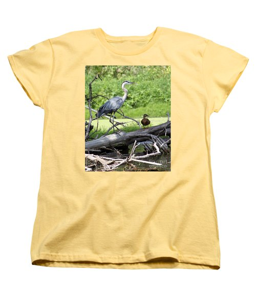 Women's T-Shirt (Standard Cut) featuring the photograph Blue Heron And Friend by Debbie Hart