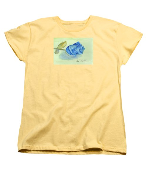 Blue Rose Women's T-Shirt (Standard Cut) by Pamela  Meredith