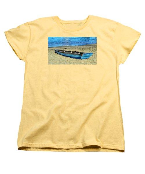 Blue Rowboat Women's T-Shirt (Standard Cut) by Holly Blunkall