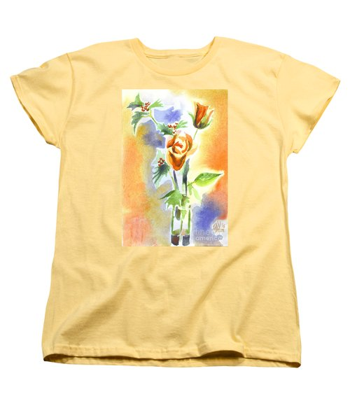 Women's T-Shirt (Standard Cut) featuring the painting Blue With Redy Roses And Holly by Kip DeVore