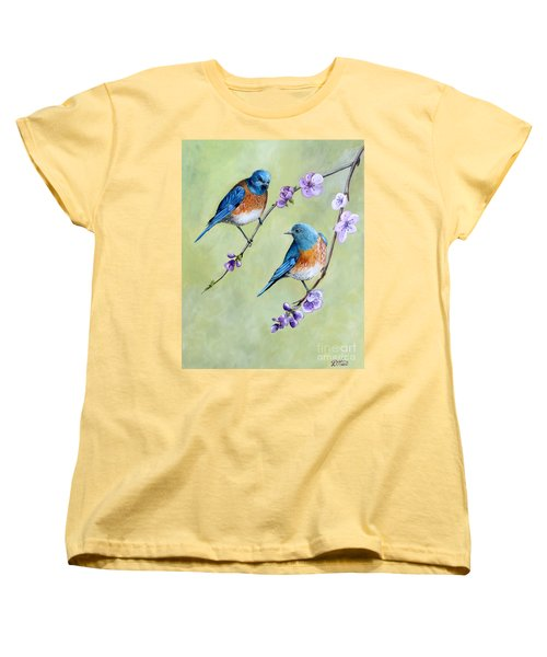 Women's T-Shirt (Standard Cut) featuring the painting Bluebirds And Blossoms by Debbie Hart