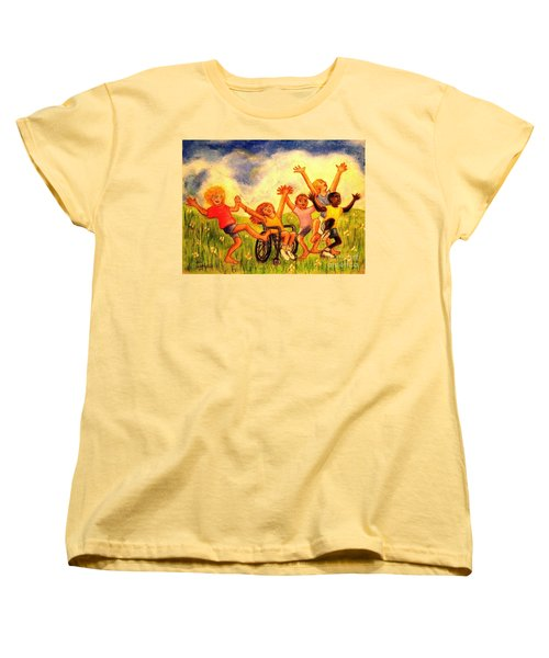 Women's T-Shirt (Standard Cut) featuring the pastel Born To Be Free by Hazel Holland