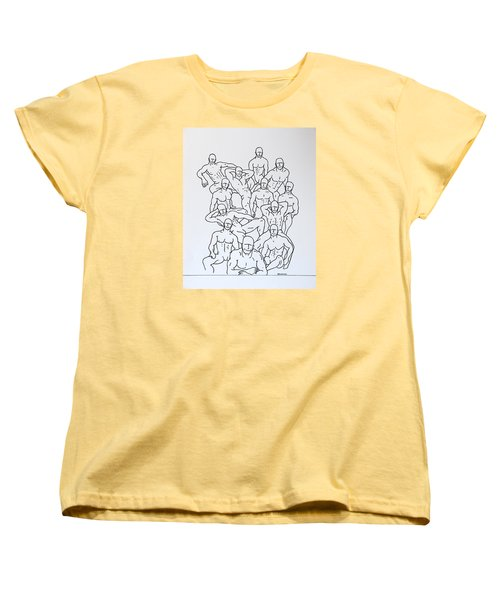 Women's T-Shirt (Standard Cut) featuring the drawing Boys At Play #4 by Thomas Gronowski