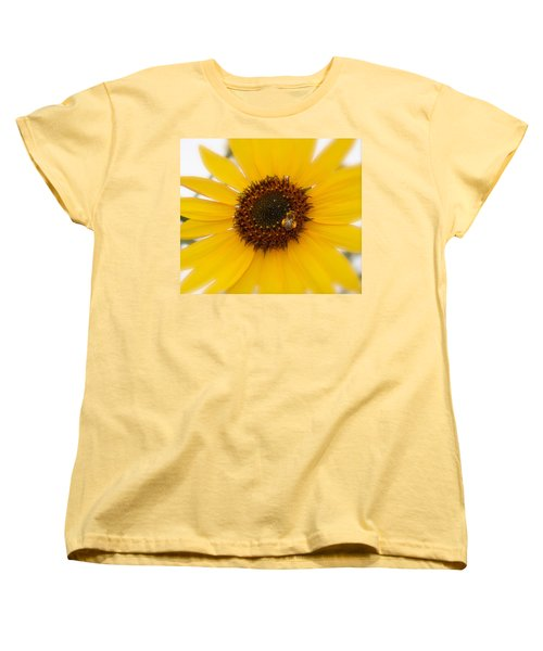 Women's T-Shirt (Standard Cut) featuring the photograph Vibrant Bright Yellow Sunflower With Honey Bee  by Jerry Cowart