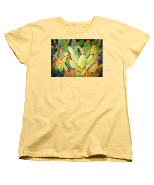 Women's T-Shirt (Standard Cut) featuring the painting Bromeliads I by Roger Rockefeller