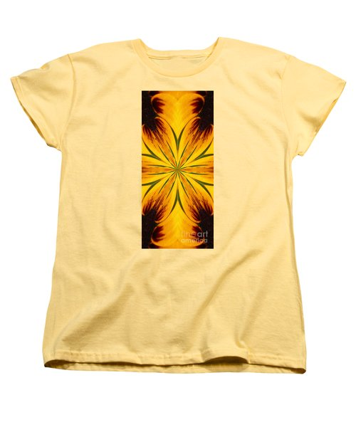 Brown And Yellow Abstract Shapes Women's T-Shirt (Standard Cut) by Smilin Eyes  Treasures