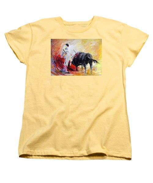 Bull In Yellow Light Women's T-Shirt (Standard Cut) by Miki De Goodaboom