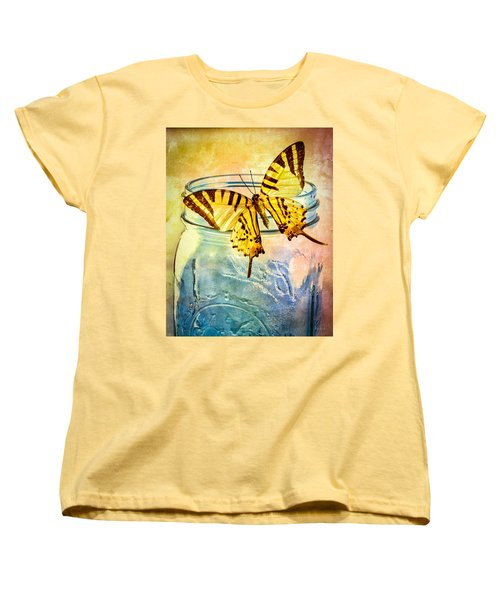 Butterfly Blue Glass Jar Women's T-Shirt (Standard Cut) by Bob Orsillo