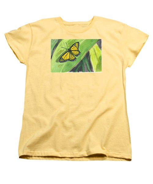 Women's T-Shirt (Standard Cut) featuring the painting Butterfly In Vermont Corn Field by Donna Walsh